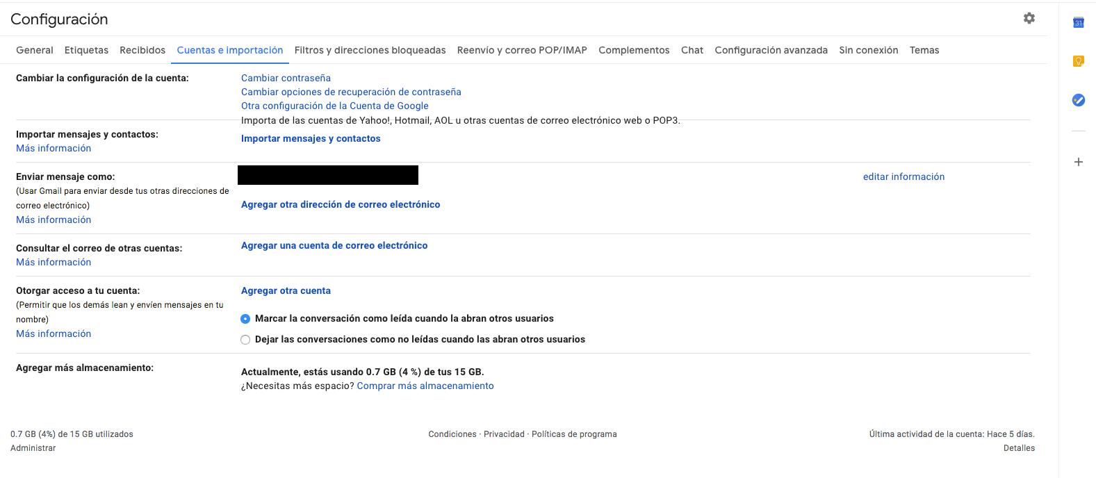 Configuración cuenta Gmail